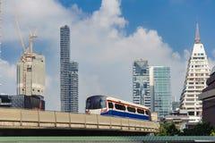 Elevated trains, Bangkok, Thailand. BTS Skytrain outgoing central Bangkok. Metropolitan train royalty free stock photos