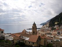 Elevated view of Amalfi, Salerno, Italy. Elevated view of the town of Amalfi, Salerno, Italy a popular resort and tourist attraction on the Mediterranean sea Royalty Free Stock Images