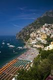 Elevated view of beach umbrellas of Amalfi, a town in the province of Salerno, in the region of Campania, Italy, on the Gulf of Sa Stock Photography