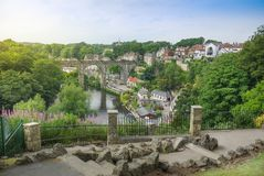 Elevated view of beautiful English town Knaresborough with viaduct, cottages and stone footpath. Beautiful landscape view of small European town of Royalty Free Stock Photos