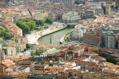 Elevated view of Bilbao, Spain (Bilbo) and river Ibaizabal Stock Photography