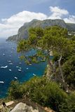Elevated view of blue waters of the City of Capri, an Italian island off the Sorrentine Peninsula on the south side of Gulf of Nap Royalty Free Stock Photos