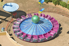 Elevated view of brightly colored carnival car rides in Durban, South Africa Royalty Free Stock Photography
