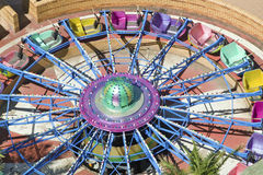 Elevated view of brightly colored carnival car rides in Durban, South Africa Stock Photo