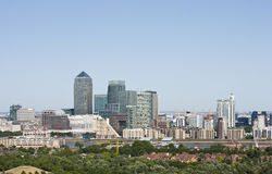 Elevated view of Canary Wharf, London Stock Photos