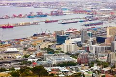 Elevated view of Cape Town harbor royalty free stock photos