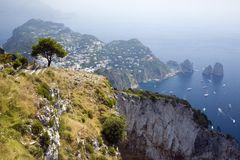 Elevated view of Capri, an Italian island off the Sorrentine Peninsula on the south side of Gulf of Naples, in the region of Campa. Nia, Province of Naples stock photography