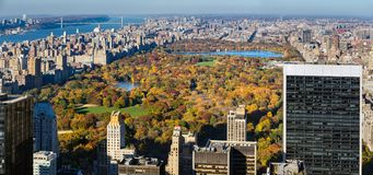 Aerial view of Central Park in Autumn. Manhattan, New York City Royalty Free Stock Photo