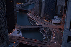Elevated view of Chicago river and Wacker Drive. Royalty Free Stock Image