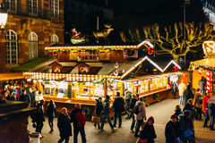 Elevated view of christmas Market in Strasbourg, France Royalty Free Stock Photo
