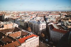 Elevated view of the city of Budapest from St. Stephen`s Basilica, Hungary royalty free stock photo