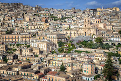 Elevated View of City of Modica Stock Photo
