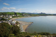 Elevated view Criccieth North Wales UK historic coastal town in summer with blue sky on a beautiful day Royalty Free Stock Photo