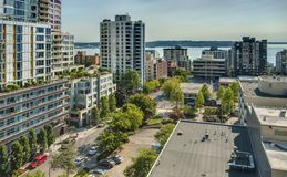 Downtown Seattle Condominiums and the Puget Sound. An Elevated View of Downtown Seattle Waterfront Condominiums and the Puget Sound Stock Photos