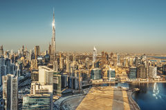 Elevated view of Dubai towers at sunset. Scenic skyline. Royalty Free Stock Photo