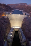 Elevated view at dusk of Hoover Dam Stock Images