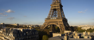 Elevated view of the Eiffel Tower. Elevated panoramic view of the mid section of the Eiffel Tower in the afternoon, Paris, France Stock Image