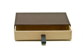 Elevated view of empty brown gift box Royalty Free Stock Photography
