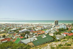 Elevated view of False Bay and Indian Ocean, near Muizenberg and St. James, outside of Cape Town, South Africa Stock Image