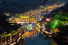 Elevated view of Fenghuang ancient town lit up at night Royalty Free Stock Photos