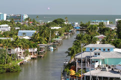 Elevated view of Fort Myers Beach downtown area Royalty Free Stock Photos