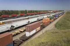 Elevated view of freight cars royalty free stock photography