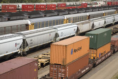 Elevated view of freight cars Stock Image