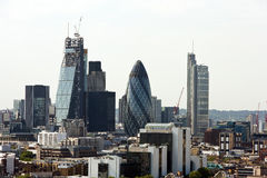 Elevated view of The Gherkin and surrounding buildings, London Stock Images