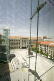 Elevated view through glass of Barcelona Museum of Contemporary Art, Barcelona, Spain Stock Image
