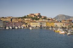 Elevated view of harbor of Portoferraio, Province of Livorno, on the island of Elba in the Tuscan Archipelago of Italy, Europe, wh Stock Photo