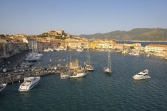Elevated view of harbor of Portoferraio, Province of Livorno, on the island of Elba in the Tuscan Archipelago of Italy, Europe, wh Royalty Free Stock Photography