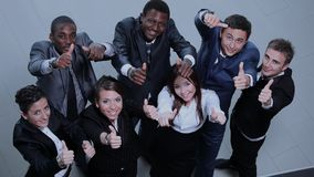 Elevated view of large group of multiethnic business people chee Royalty Free Stock Photos