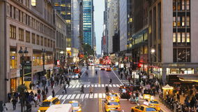 Elevated view looking along 42nd street near grand central station manhatta stock footage