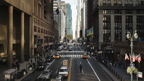 Elevated view looking along 42nd street near grand central station manhatta stock video footage