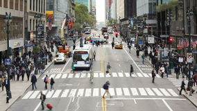 Elevated view looking along 42nd street near grand central station manhatta stock video