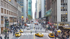 Elevated view looking along 42nd street near grand central station manhattan stock video