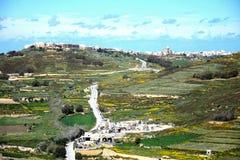 View towards Marsalforn, Gozo. Elevated view looking towards Marsalforn and surrounding countryside seen from the citadel, Victoria Rabat, Gozo, Malta, Europe Royalty Free Stock Photo