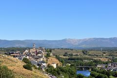 Elevated view of the medieval town of Puebla de Sanabria and the. River Tera, Zamora province, Castilla-Leon, Spain stock image