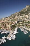 Elevated view of Monte-Carlo and harbor in the Principality of Monaco, Western Europe on the Mediterranean Sea Stock Photography