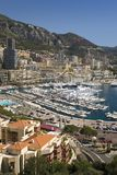 Elevated view of Monte-Carlo and harbor in the Principality of Monaco, Western Europe on the Mediterranean Sea Stock Image