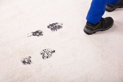 Elevated View Of Muddy Footprint On Carpet. Elevated View Of Person Walking With Muddy Footprint On Carpet royalty free stock photography