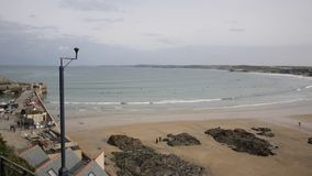 Elevated view of Newquay Harbour and Towan beach Newquay North Cornwall England UK stock video footage