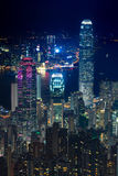 Elevated view of night scene of Hong Kong victoria harbor Royalty Free Stock Photography