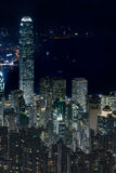 Elevated view of night scene of Hong Kong victoria harbor Stock Images