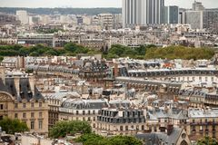 Elevated view over Paris. Elevated view of the buildings and suburbs of Paris, France, seen from the top of the Notre Dame Cathedral Royalty Free Stock Photography