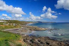 Elevated View of Portwrinkle Harbour, with views across Whitsand Bay towards Rame Head in Cornwall. UK stock photos