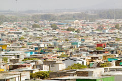 Elevated view of shanty towns or Squatter Camps, also known as bidonvilles, in Cape Town, South Africa Stock Photos