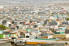 Elevated view of shanty towns or Squatter Camps, also known as bidonvilles, in Cape Town, South Africa Royalty Free Stock Images