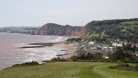 Elevated view of Sidmouth town and coast Devon England UK stock footage