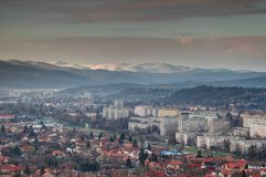 Single-family houses and tower blocks in winter Miskolc Hungary Royalty Free Stock Photo